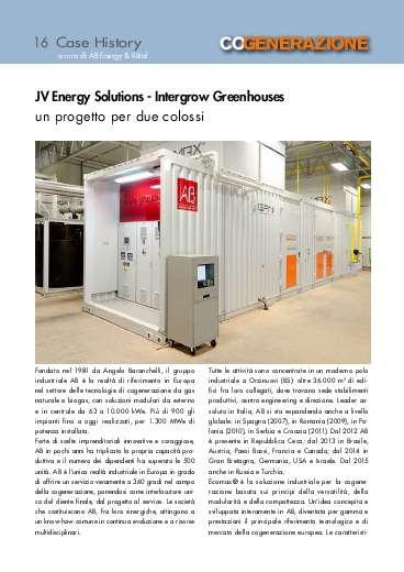 JV Energy Solutions - Intergrow Greenhouses: un progetto per due colossi