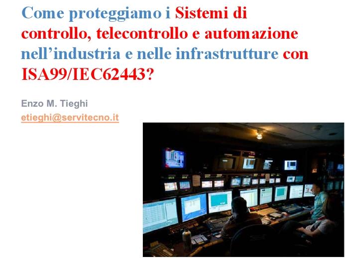 cybersecurity industriale isa99 iec62443 introduzione