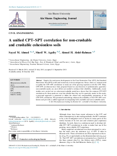 A unified CPT–SPT correlation for non-crushable and crushable cohesionless soils