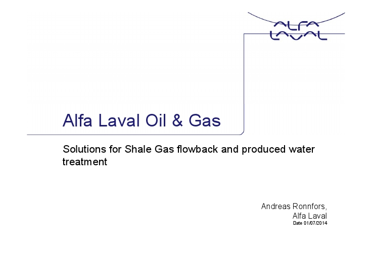 Solutions for Shale Gas flowback and produced water treatment