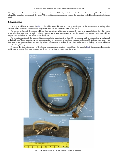 Failure analysis of a rubber hose in anhydrous ammonia service