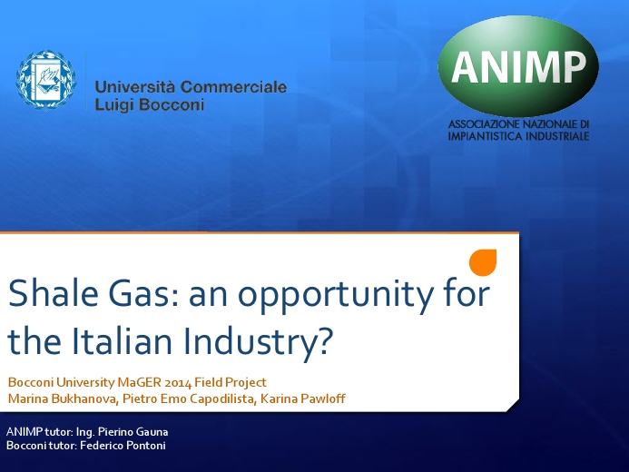 Shale Gas: an Opportunity to the Italian Industry?