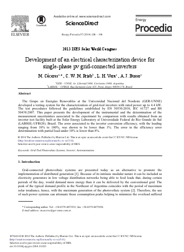 Development of an electrical characterization device for single-phase pv grid-connected inverters