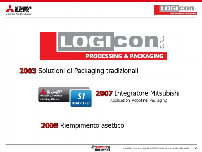 L'integrazione dei robot Mitsubishi Electric e il know how di Logicon aumentano l