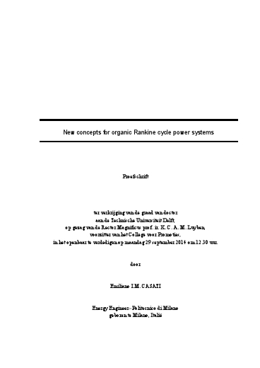 New concepts for organic Rankine cycle power systems