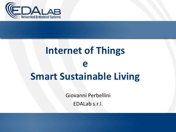 Internet of Things e smart sustainable living