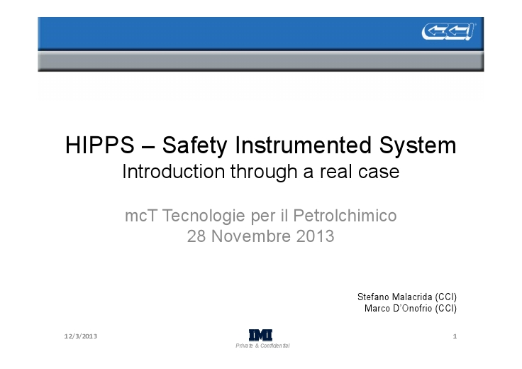 HIPPS – Safety Instrumented System – Introduction through a real case