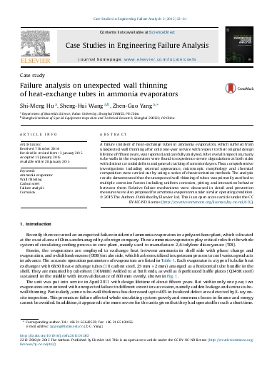 Failure analysis on unexpected wall thinning of heat-exchange tubes in ammonia evaporators