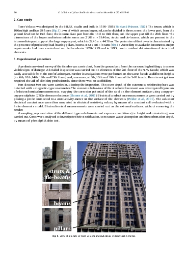 Corrosion assessment of reinforced concrete elements of Torre Velasca in Milan