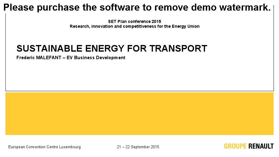 Sustainable energy for transport