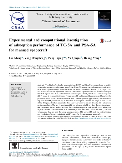 Experimental and computational investigation of adsorption performance of TC-5A and PSA-5A for manned spacecraft