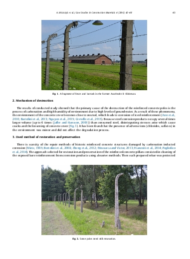 Restoration and preservation of the reinforced concrete poles of fence at the former Auschwitz concentration camp