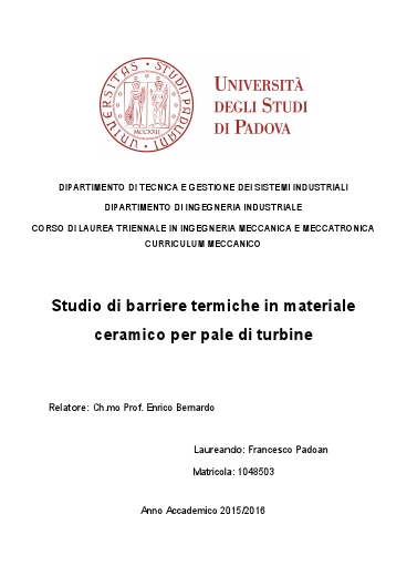 Studio di barriere termiche in materiale ceramico per pale di turbine