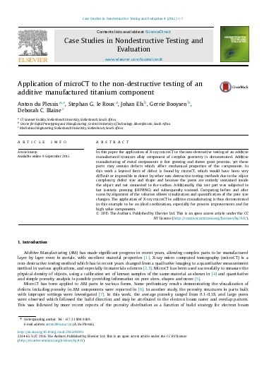 Application of microCT to the non-destructive testing of an
