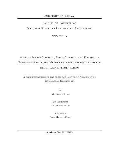 Medium access control, error control and routing in underwater acoustic networks