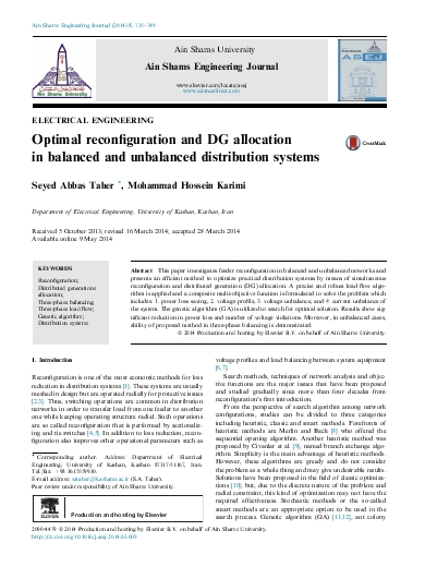 Optimal reconfiguration and DG allocation in balanced and unbalanced distribution systems