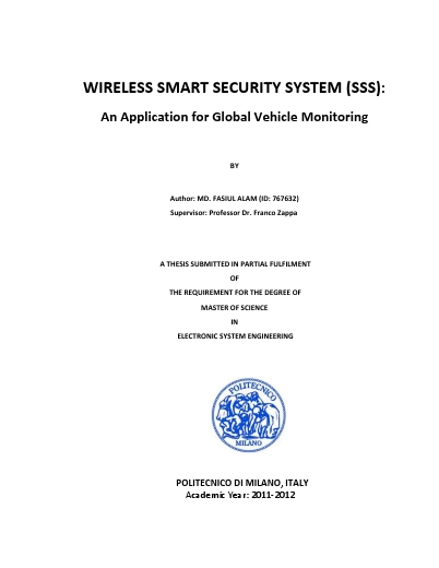 Wireless smart security system (SSS): an application for global vehicle monitoring