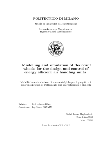 Modelling and simulation of desiccant wheels for the design and control of energy efficient air handling units