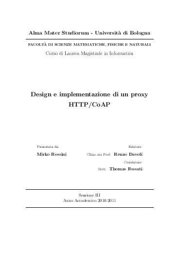Design e implementazione di un proxy HTTP/CoAP