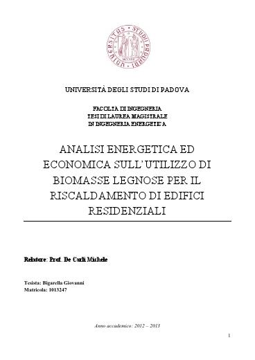 Analisi energetica ed economica sull 39 utilzzo di biomasse for Progettazione di edifici economica