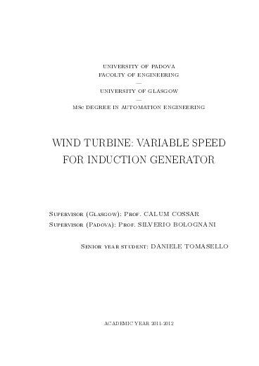 Wind Turbine: variable speed for induction generator