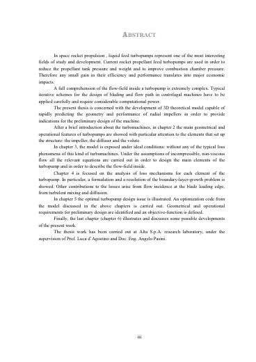 Sviluppo di un modello per la progettazione di turbopompe centrifughe