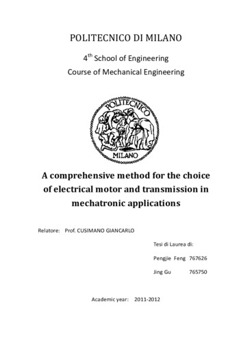 A comprehensive method for the choice of electrical motor and