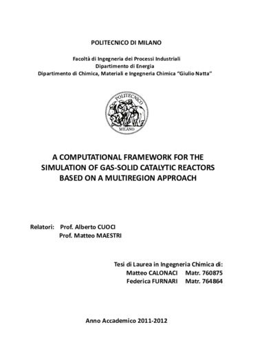 A computational framework for the simulation of a gas solid