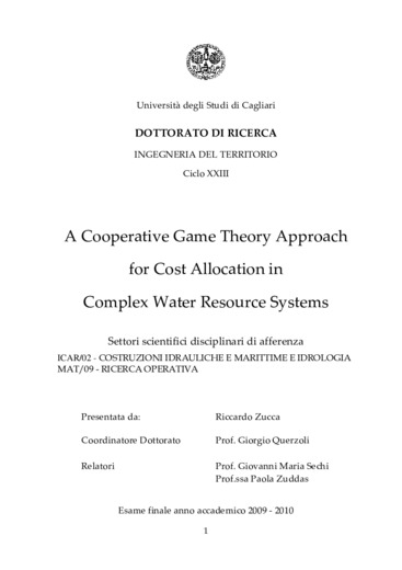 A cooperative game theory approach for cost allocation in complex