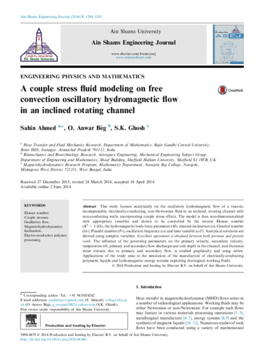 A couple stress fluid modeling on free convection oscillatory hydromagnetic