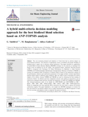 A hybrid multi-criteria decision modeling approach for the best biodiesel