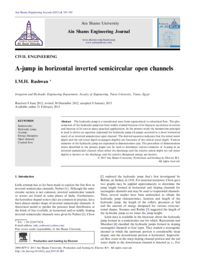 A-jump in horizontal inverted semicircular open channels