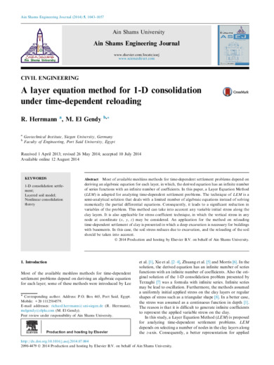 A layer equation method for 1-D consolidation under time-dependent reloading