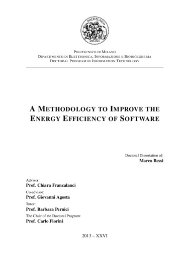 A methodology to improve the energy efficiency of software