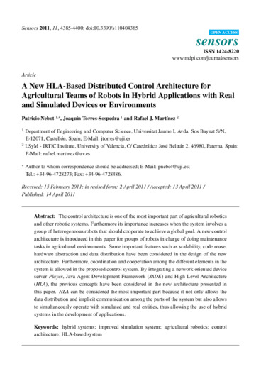 A new HLA-based distributed control architecture for agricultural teams of