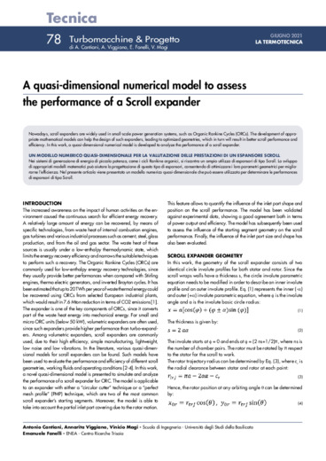 A quasi-dimensional numerical model to assess  the performance of