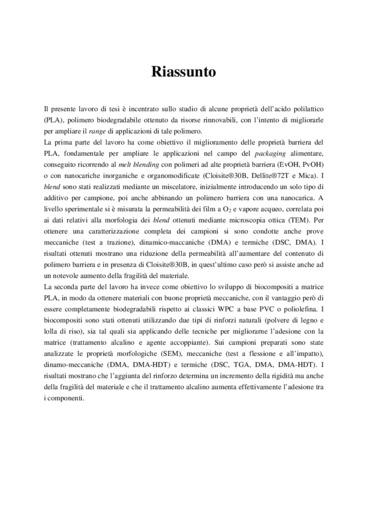 Acido polilattico (PLA): miglioramento delle proprietà barriera e sviluppo di