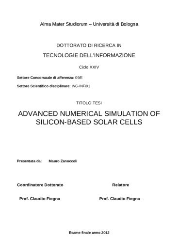 Advanced numerical simulation of silicon-based solar cells
