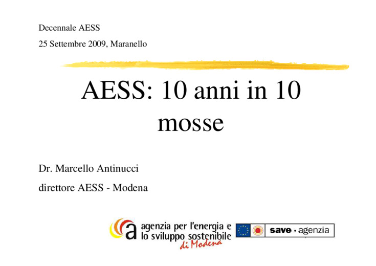 AEES, 10 anni in 10 mosse