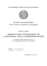 Aerodynamic optimization of a transonic axial compressor rotor