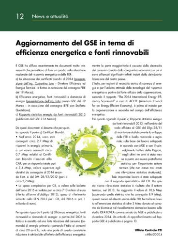 Aggiornamento del GSE in tema di efficienza energetica e fonti