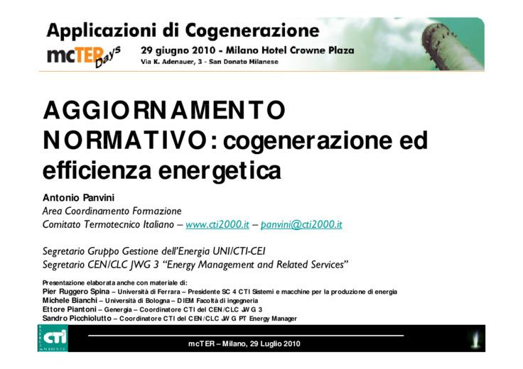 Aggiornamento normativo: cogenerazione ed efficienza energetica