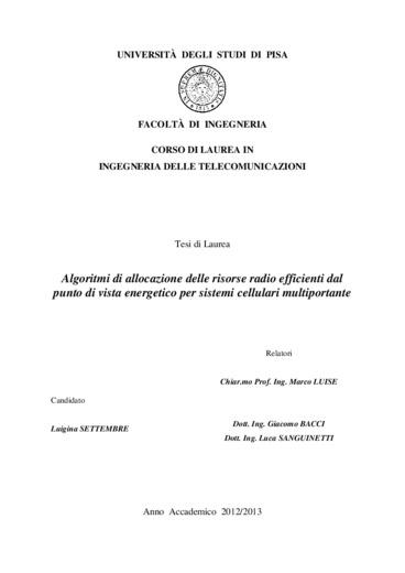 Algoritmi di allocazione di risorse radio efficienti dal punto di