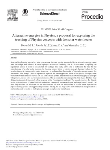Alternative energies in Physics, a proposal for exploring the teaching