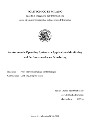 An autonomic operating system via applications monitoring and performance aware