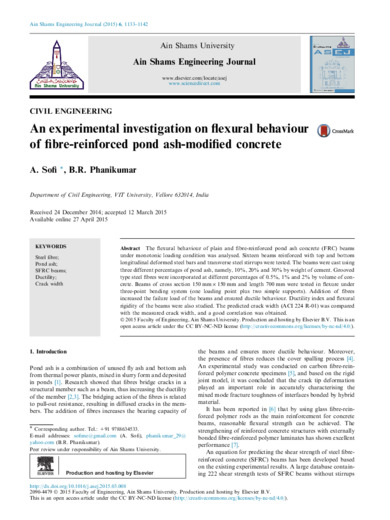 An experimental investigation on flexural behaviour of fibre-reinforced pond ash-modified