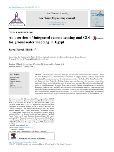 An overview of integrated remote sensing and GIS for groundwater