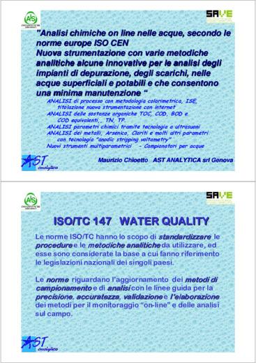 Analisi chimiche on line nelle acque secondo le norme europe