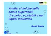 Analisi chimiche sulle acque superficiali di scarico e potabili e