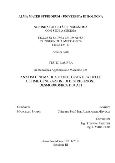 Analisi cinematica e cineto-statica delle ultime generazioni di distribuzione desmodromica